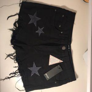 Brand new never worn Black denim Cut off shorts